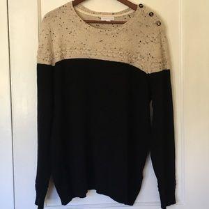 Charter Club Black and Cream Sweater - XXL